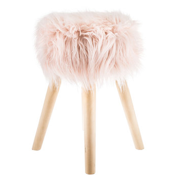 Pink Faux Fur Wood Stool